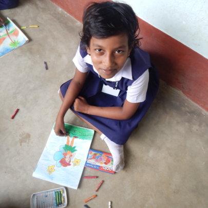 Shrestha in drawing class