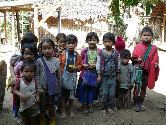 Displaced Burmese children in a camp