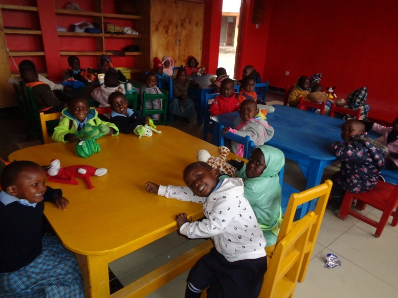 Daycare children in a elementary school classroom