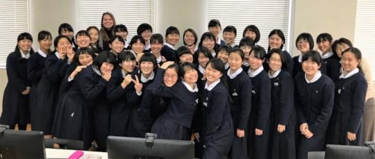Students at Fukuoka Futaba High School