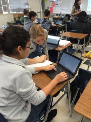 Davis Sr. High School students engaging online