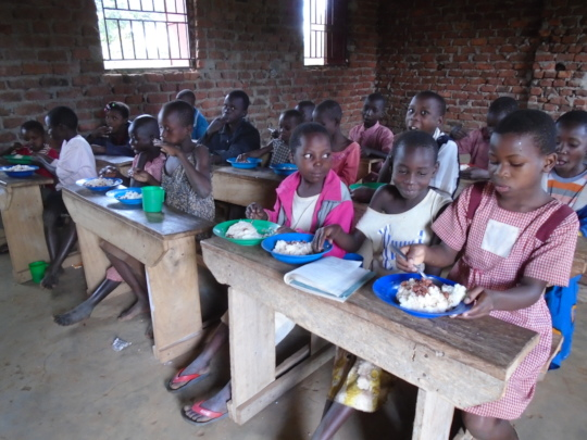 The children enjoying a healthy meal