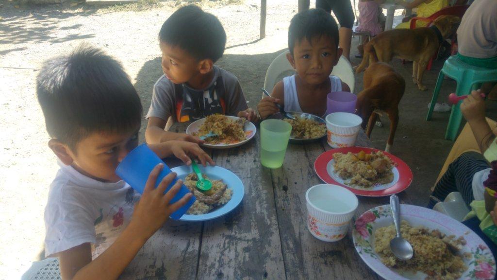 Kids enjoying a good meal