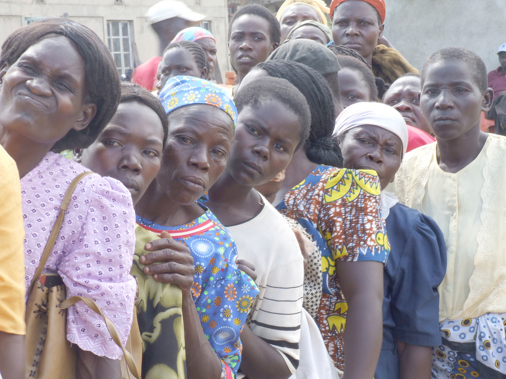 women lining at the counseling camp.