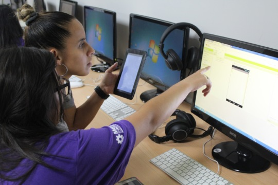 Some of the girls working hard on their app