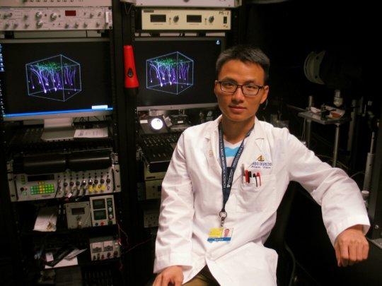 Han in his Lab at Johns Hopkins University