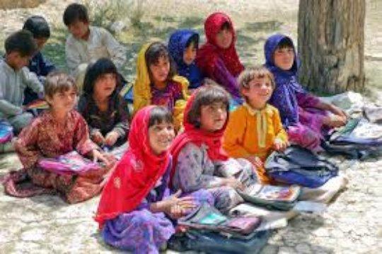 Girls in the outdoor classroom