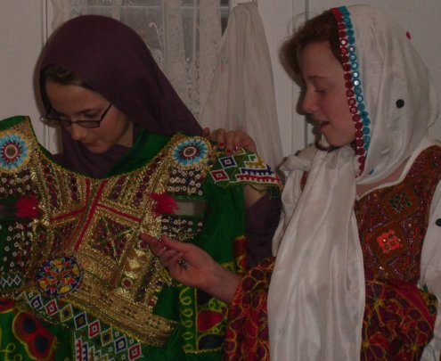 Erica and Allie discussing Afghan culture in 2009
