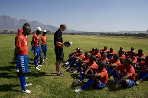 The boys having assembly before training