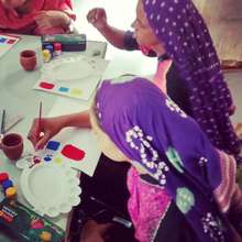 Kavi and Bhavana try their hands at water colour