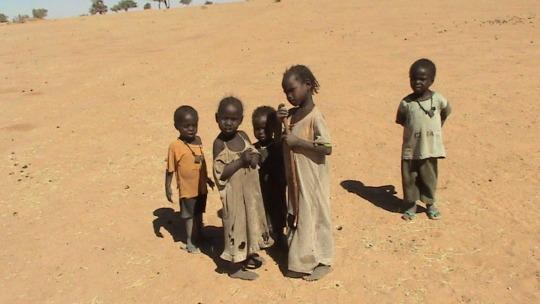 Children in desert heat