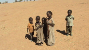 Children in desert heat