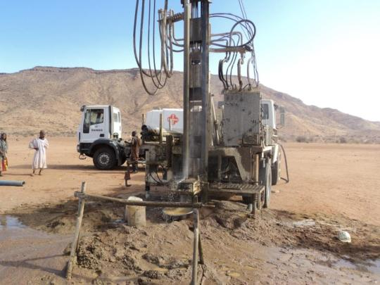 Drilling for water, big excitement for a village!