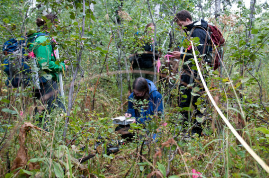Dr. Eisenberg records data during a transect track