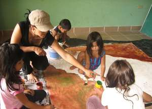 Making a mural painting with Lutisuc's team help