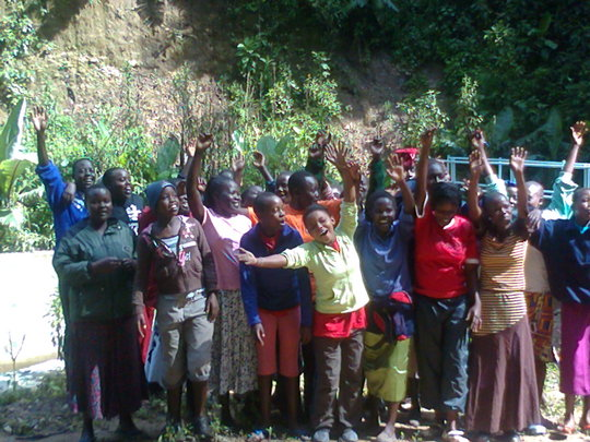 Girls at source of River Nzoia