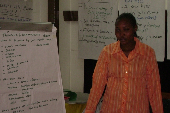 Chepkurui shares her soem group work discussions on business man