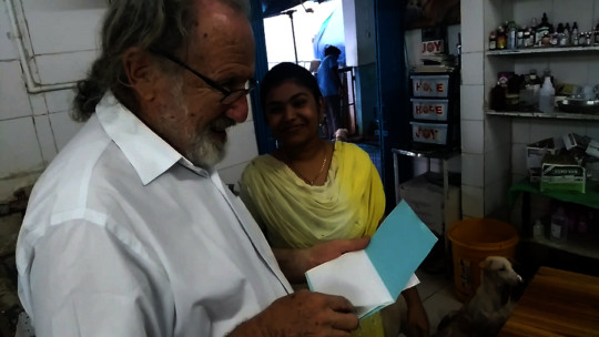 Reading the birthday card that Dr.Heera made.