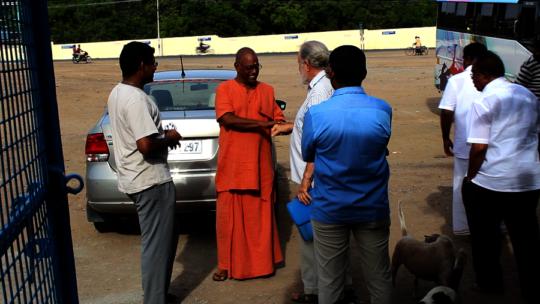 Saying goodbye to Swami Muktananda.