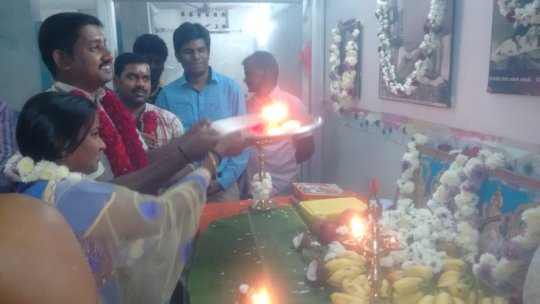 Our anniversary puja. Dr.Raja and Sundari.
