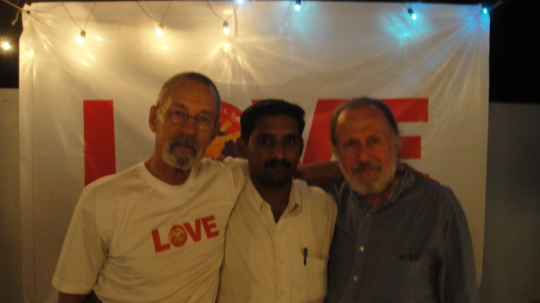 Ken, Dr. Raja, and Leslie at Mooji concert.