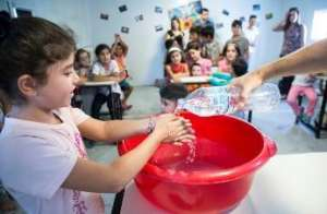 Children learning to wash their hands
