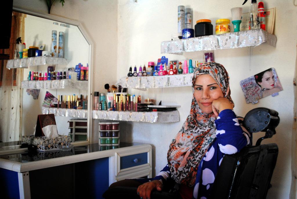 Hanane in her in-home salon.