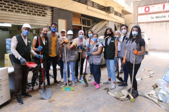 Concern staff volunteering with clean-up in Beirut
