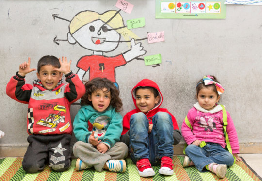 Kareem and his friends at the education center