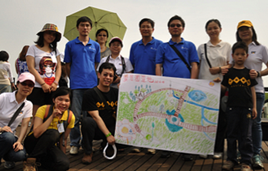 Posing with a Lujiazui Slow Life Green Map