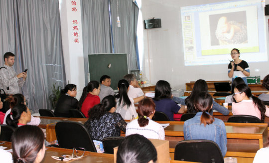 Fangqi teaches healthcare providers.