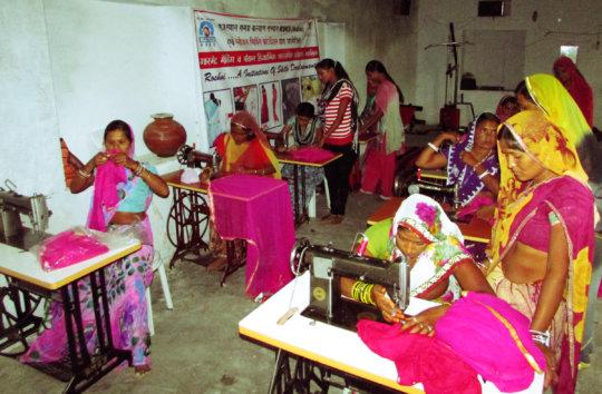 Women trainee learn Garment making skill