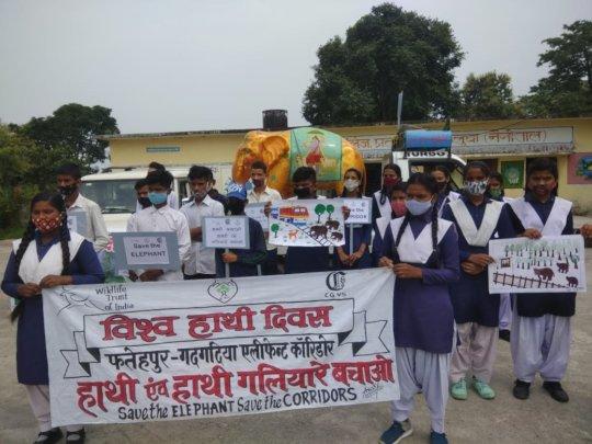 Children in Uttarakhand on World Elephant Day