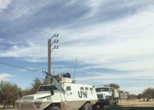 UN Tank patroling streets of Timbuktu
