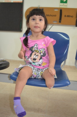 Waiting patiently for her prosthesis
