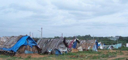A Panorama of Village Mud Huts