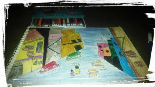 Student artwork on urban flooding in Karachi