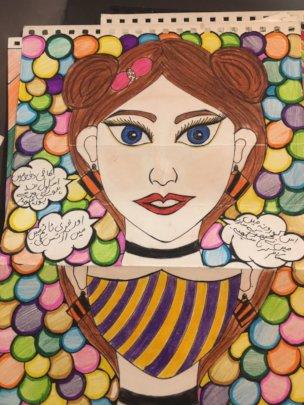 Student artwork showing a pandemic self portrait