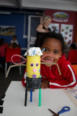 Gabby with her art robot