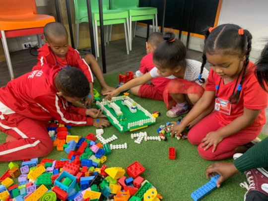 Activities with LEGO Playbox and train sets