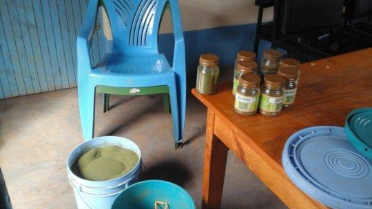 Packing Moringa powder at DNRC