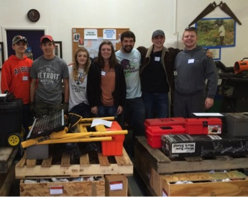 Youth Group helping to pack tools