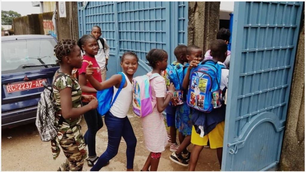 Guinea students on their first day of school!