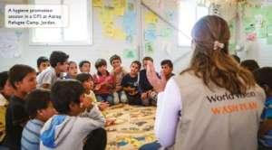 Hygiene class in Jordan camp