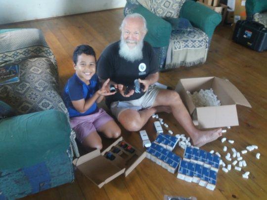 Austin and Grandson Kiki Unpacking the Loggers!