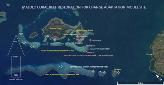 Mamanuca Restoration Sites and Planned Sites