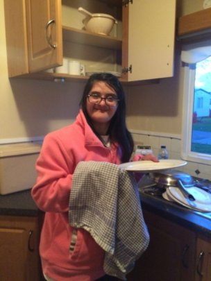 Binita doing the washing up