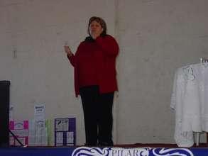 Deaf mother giving a speech