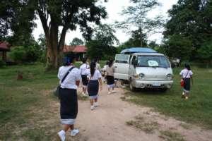 SENGSAVANG residents on their way to school