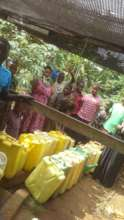 Collecting drinking water from borehole